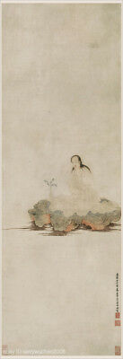 Chinese scroll painting Buddhist GuanYin on lotus pond by Ding YunPeng in Qing