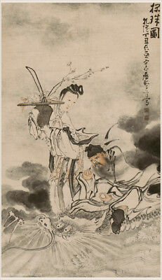 Chinese old scroll painting ZhongKui riding on dragon by Huang Shen Qing dynasty