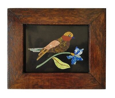Handmade Colorful Bird Inlayed on Marble Pietra Dura Plaque Micro Mosaic #Framed