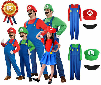Men Kids Super Mario Luigi Bros Fancy Dress Up Adult Cosplay Costume Outfit