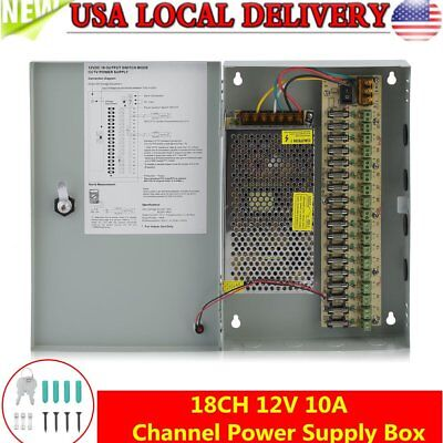 18CH Security Camera Power Supply Box DC 12V 10A Distribution for CCTV System MY