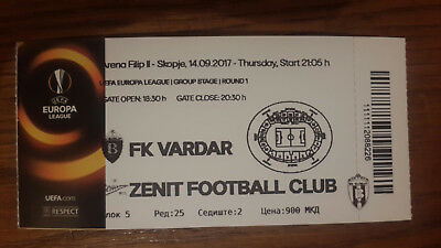 Football tickets/2017/Europa League/Vardar Skopje-Zenit St. Petersburg Russia