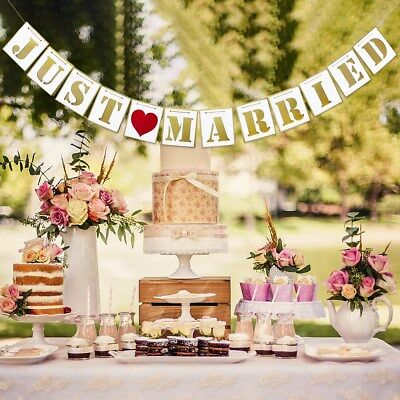 8d375912c2fb Just Married Wedding Banner Rustic Signs Vintage Bunting Flags Photo Booth  Props