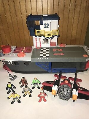 Fisher Price IMAGINEXT Aircraft Carrier Playset LOT Figures Sky Racer Plane Part