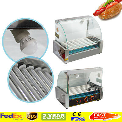 Commercial Home 18 Hot Dog Hotdog 7 Roller Grill Cooker Machine W/ Cover 110V