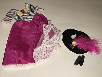 BARBIE OOAK Embelisshed Outfit Pink White Striped Bodice Dress Custom Snaps Gown
