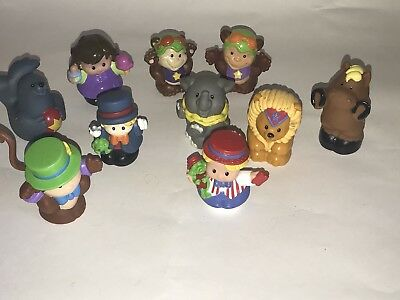 Fisher Price Little People Cirque Figurines Lot Of 10 Worker Singe Éléphant Lion