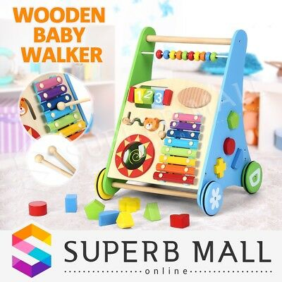 Baby Walker Toddler Walker Kid Push Activity Wooden Toys with Musical Instrument