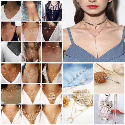 Fashion Multiple Layers Cross Necklaces For Women Charm Gold Chokers Necklace
