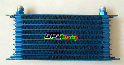 10 Row Racing Engine Transmission 10AN Aluminum Oil Cooler Blue 262mm Universal