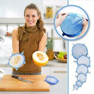 6Pcs Silicone Vacuum Storage Lids Fresh Food Plate Bowl Stretch Sealer Cover ONE