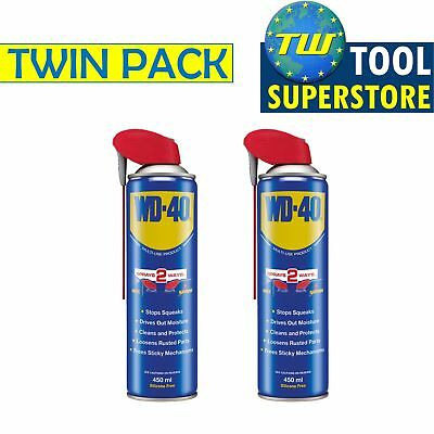 WD-40 Multi-Purpose Lubricant Spray Smart Straw 450ml Cleans Rust – Twin Pack