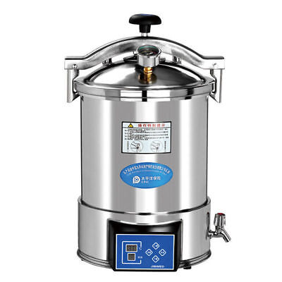18L Dental Portable High Pressure Steam Autoclave Sterilizer Stainless Steel
