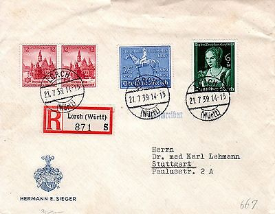 Germany Deutches Reich 1939 Horse Derby  Mi 698,700 + Registered cover Ge 7