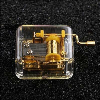 Acrylic Transparent Hand Crank Music Box Kids Toy Birthday Xmas Gift ONE