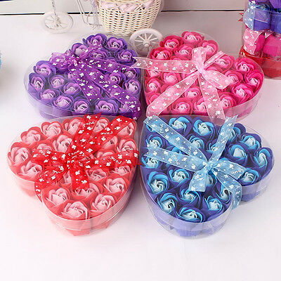 24Pcs Red Fuchsia Scented Rose Flower Petal Bath Body Soap Wedding Party Gift