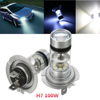 2x H7 LED Bulb Fog Stop Tail Driving 100W Xenon White HeadLight Headlamp Lamp
