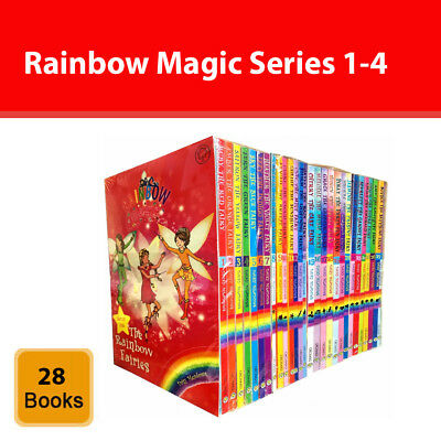 Rainbow Magic Series 1-4 Collection 28 Books Set Colour Weather Party Jewel Fair