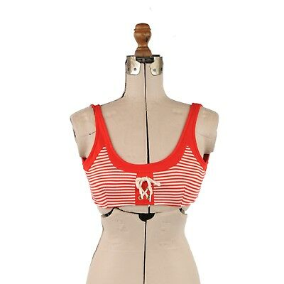 Vintage 60s Red + White Stripe Darted Rockabilly Summer Bikini Pinup Top Retro S