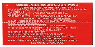 Rover P6 3500 & 3500S cooling system sticker