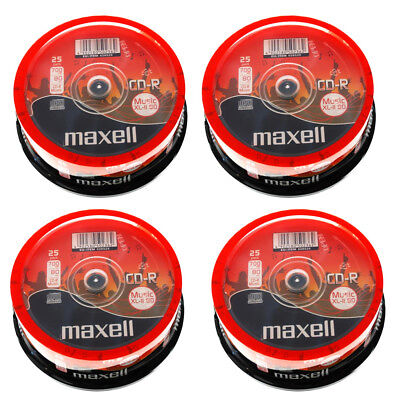 Genuine Maxell Cd-R 80 Mins Xl-Ii Digital Audio Recordable Blank Discs 100 Pack