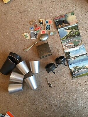 job lot vintage collectables: Silver Plate Spoon, Antiques, stamps And More