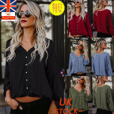 UK Womens V Neck Buttons Loose Casual Shirt Ladies Long Sleeve Blosue Tops Tee