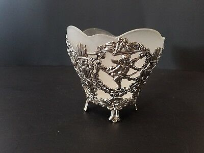 #C20 - Vintage Silver Cherub Footed Frosted Glass Dish / Candy Bowl