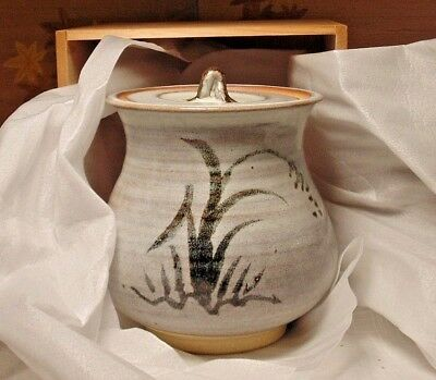 A Vintage Hand Turned Japanese Stoneware Lidded Crock Signed w/ The Wooden Box