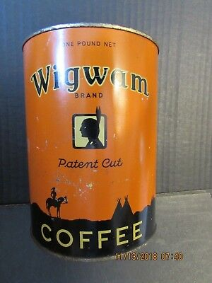 Antique Wigwam  1lb . Tall Coffee Tin  Carpenter Cook  no lid