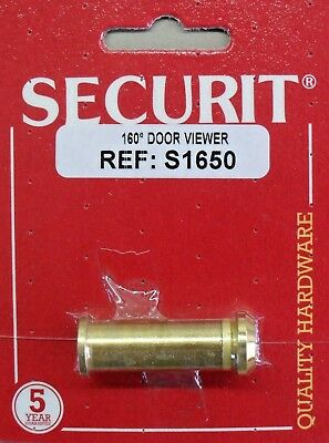 Door Viewer Spy Hole 160 degrees, brass Securit S1650