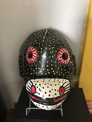Black Monkey Mask Hand Carved Guatemalan Ceremonial Folk Art