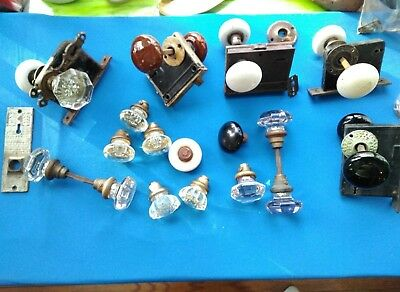 Lot-Antique Glass and other door knobs-Nice collection W/ some hardware, Mortise