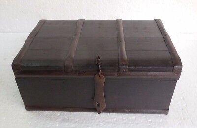 Vintage Old Hand Carved Tribal Wooden Jewellery Box Iron Fitted Collectible