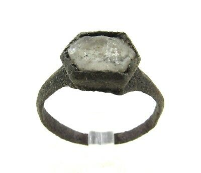 Authentic Late Medieval Tudor Bronze Ring W/ Stone In Bezel - Wearable - H366