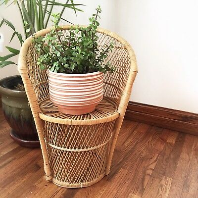 Vtg Child Kid Size Wicker Rattan Peacock Chair Boho Photography Prop Plant Stand
