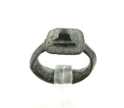 Authentic Ancient Roman Bronze Ring W/ Pyramid - Wearable - H368