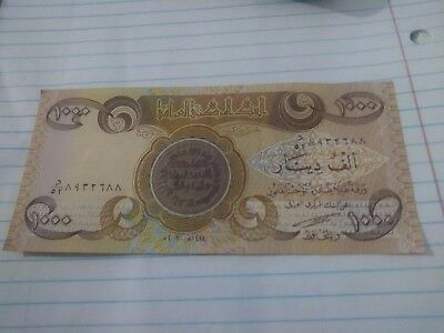 Brand New Iraqi Dinar 1000 Note Uncirculated Mint      Free Shipping