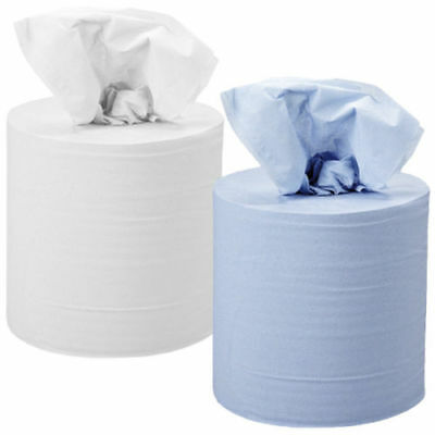 Blue Roll White Roll Centrefeed Industrial Cleaning Extra Long Paper Rolls 150M