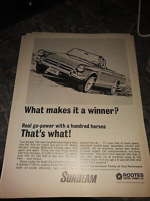 lot 5 sunbeam tiger ads shelby rootes roadster v8 289 302 vintage poster