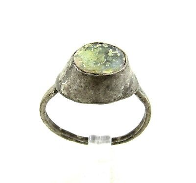 Authentic Medieval Viking Era Silver Ring W/ Glass - Wearable - H372