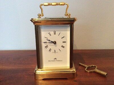 Matthew Norman Swiss made solid brass 8 day carriage clock with key