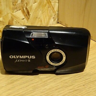 Olympus MJU II Multi AF F2.8  35mm All Weather Black Film Compact Camera mju2