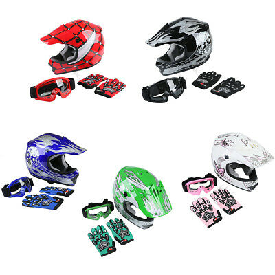 TCMT S~XL DOT Safety Youth Kids Dirt Bike ATV Helmet W/ Goggles Gloves 5 Colors
