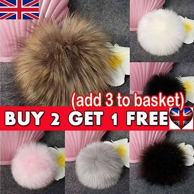 UK 11cm Faux Raccoon Fur Pom Pom Ball with Press Button for Knitting DIY Hat Hot