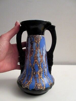 Vtg Art Deco Double Handled Art Pottery Mottled Glaze Vase Nice Piece!