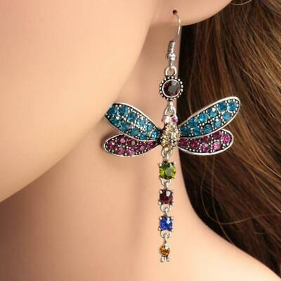 Plated Gorgeous rhinestone dragonfly colors crystal earrings silver hook
