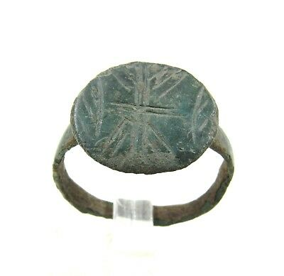 Authentic Medieval Viking Era Bronze Ring W/ Runic Decoration - Wearable - H395