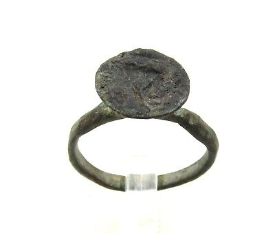 Authentic Medieval Viking Bronze Ring W/ Beast - Wearable - H396