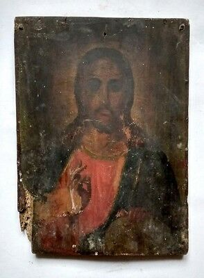 Antique Old Orthodox Icon Jesus Christ Russian Empire Hand Painted Board 31x23cm